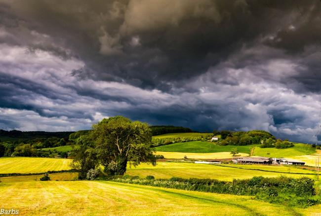 Storm clouds over Standish. Photo courtesy of Mike Barby of Gloucestershire Camera Club