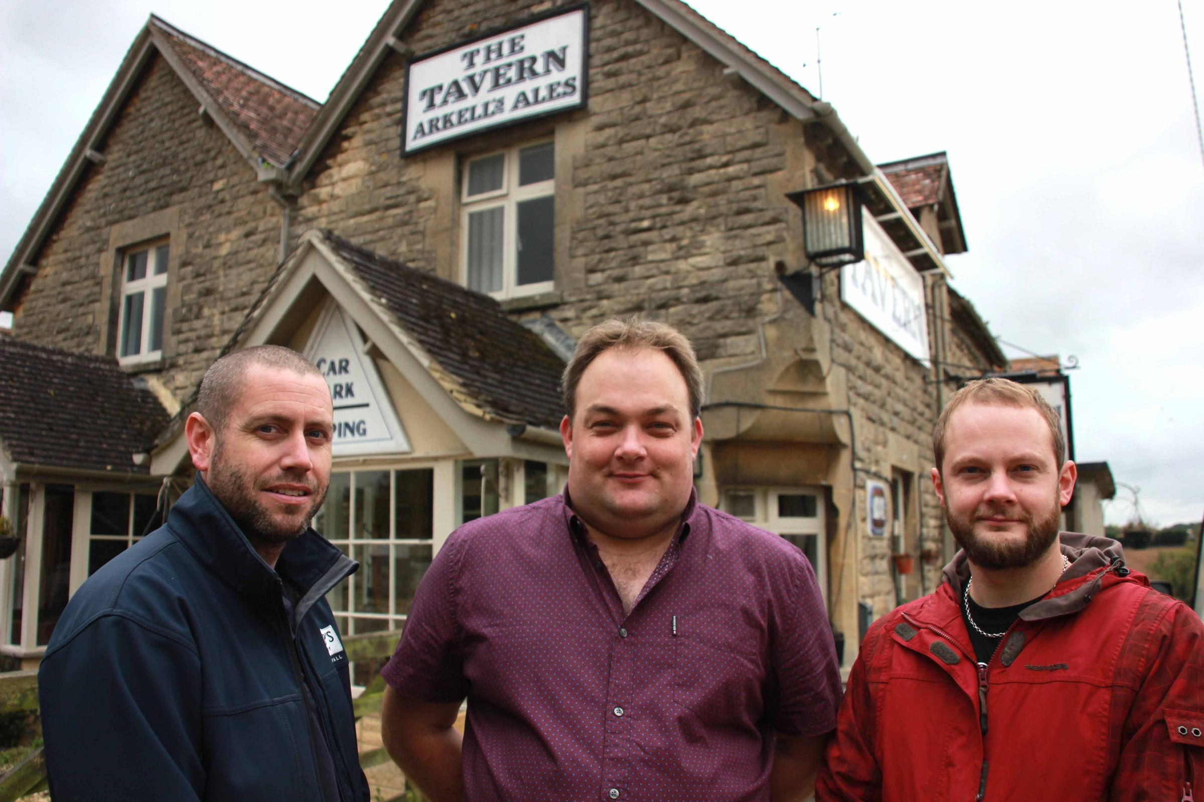 New landlords of The Tavern Inn, David Leith (left) and Daniel Keicher (right), with pub manager Stuart Baker (centre)