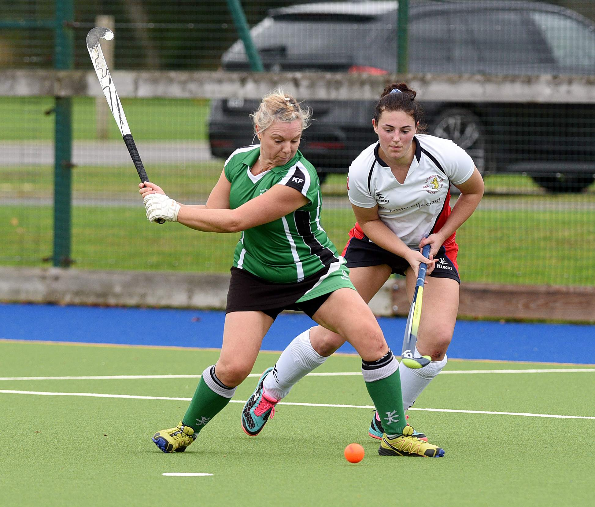 Kath Fry, left, has passed the 200-goal mark for Cirencester Hockey Club