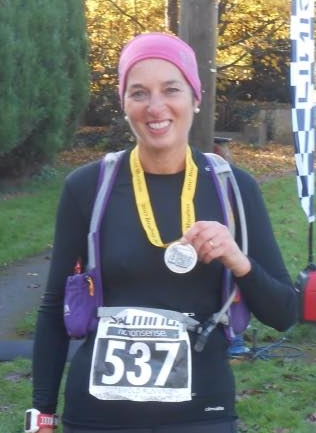 Viv D'Alton after her age category win at the Broadway Half Marathon