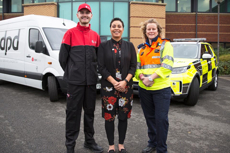(LtoR): Finn Owens from DPD with Highways England customer service director Melanie Clarke and Highways England traffic officer Vicki Lawton who will be working on Christmas Day to keep traffic moving.
