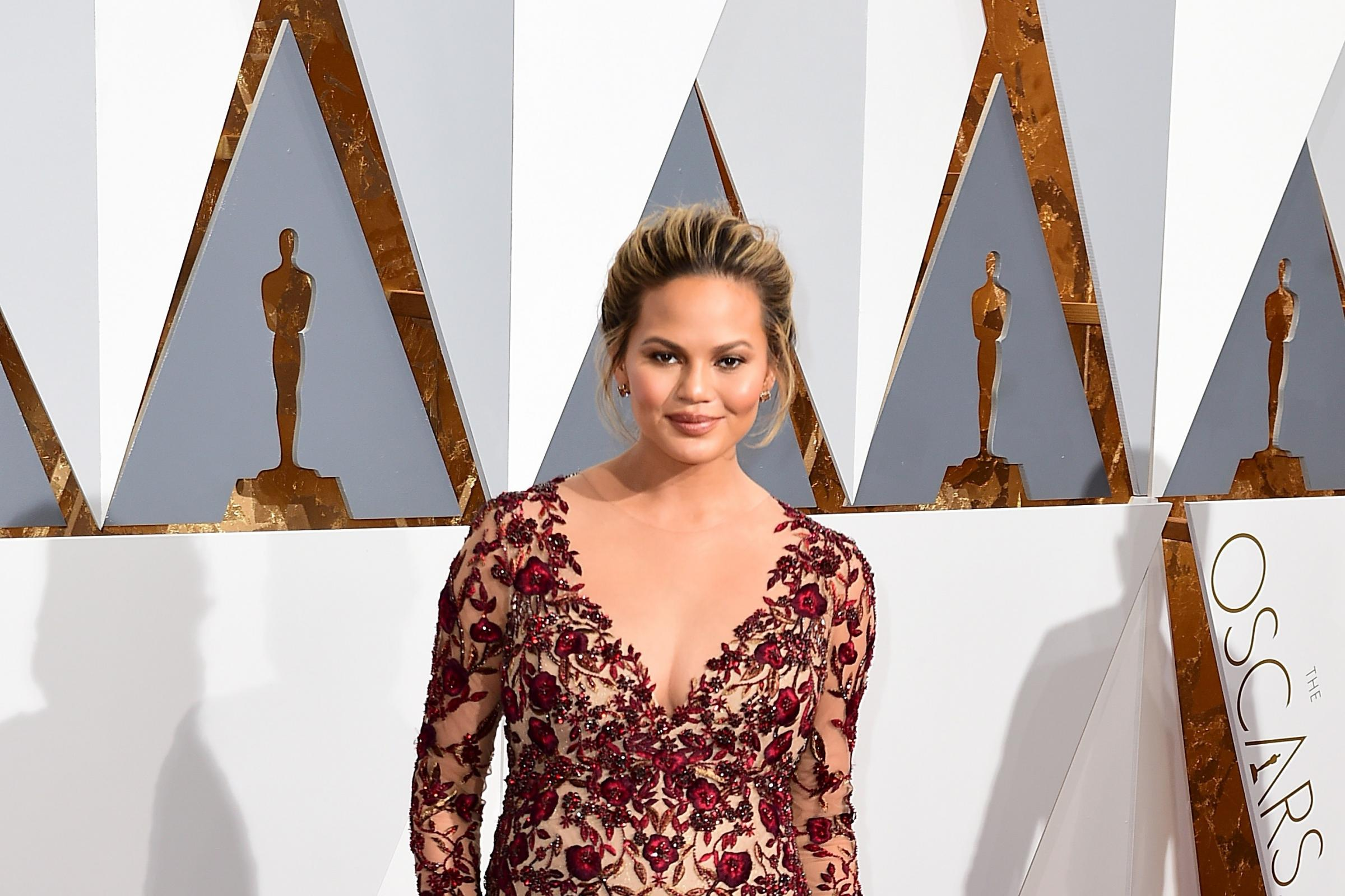 Chrissy Teigen arriving at the 88th Academy Awards (Ian West/PA)