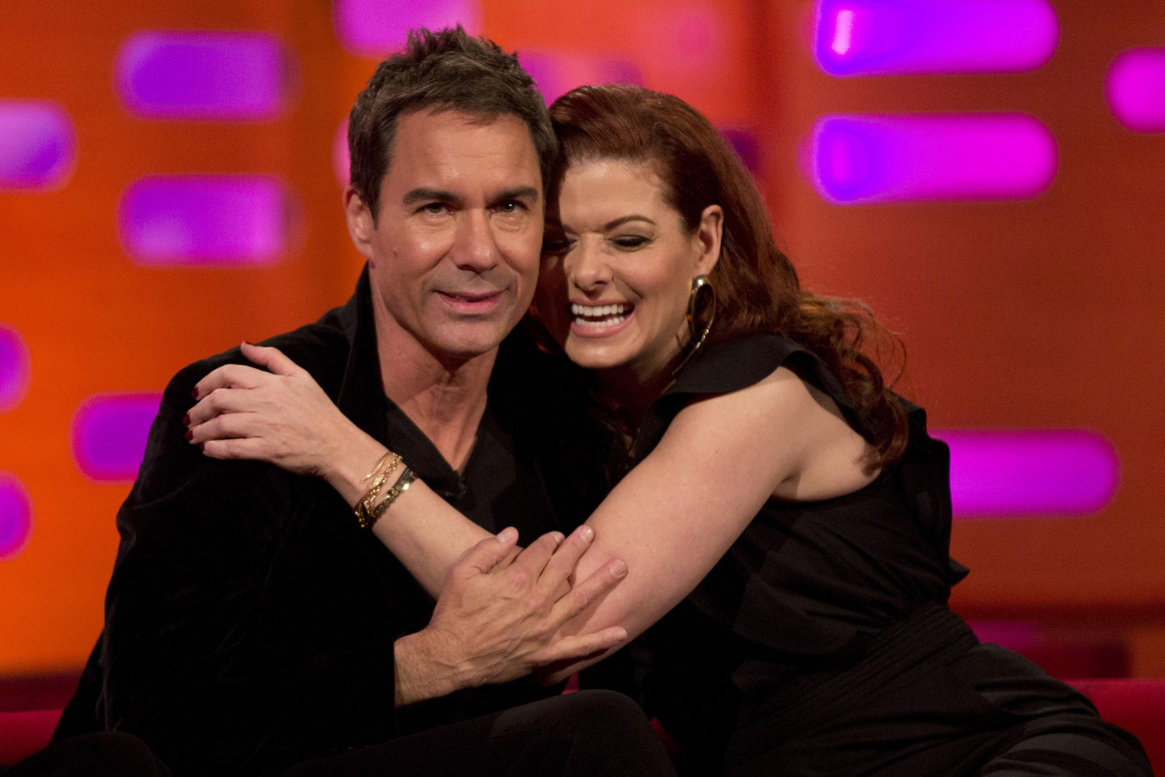 Eric McCormack and Debra Messing during filming of The Graham Norton Show at The London Studios (Isabel Infantes/PA)
