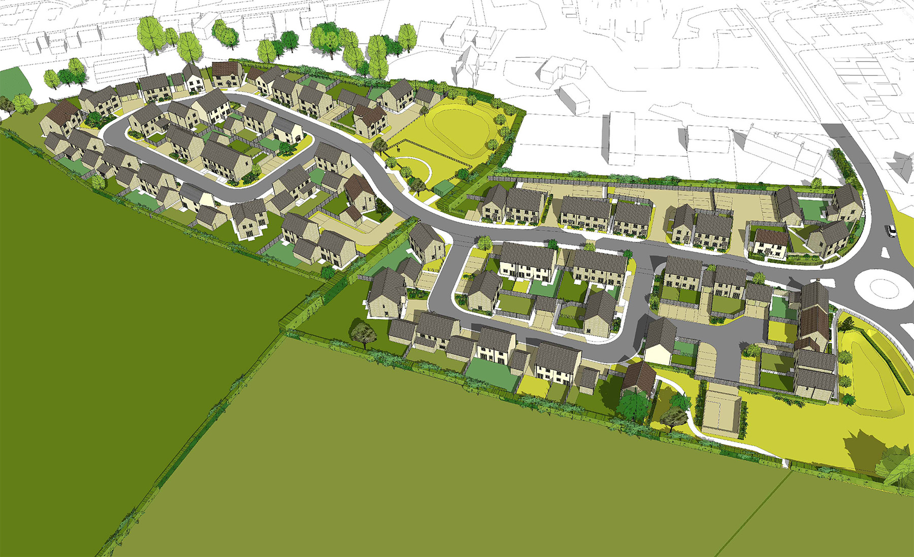 An artists impression of how an aerial view may look once the houses are built