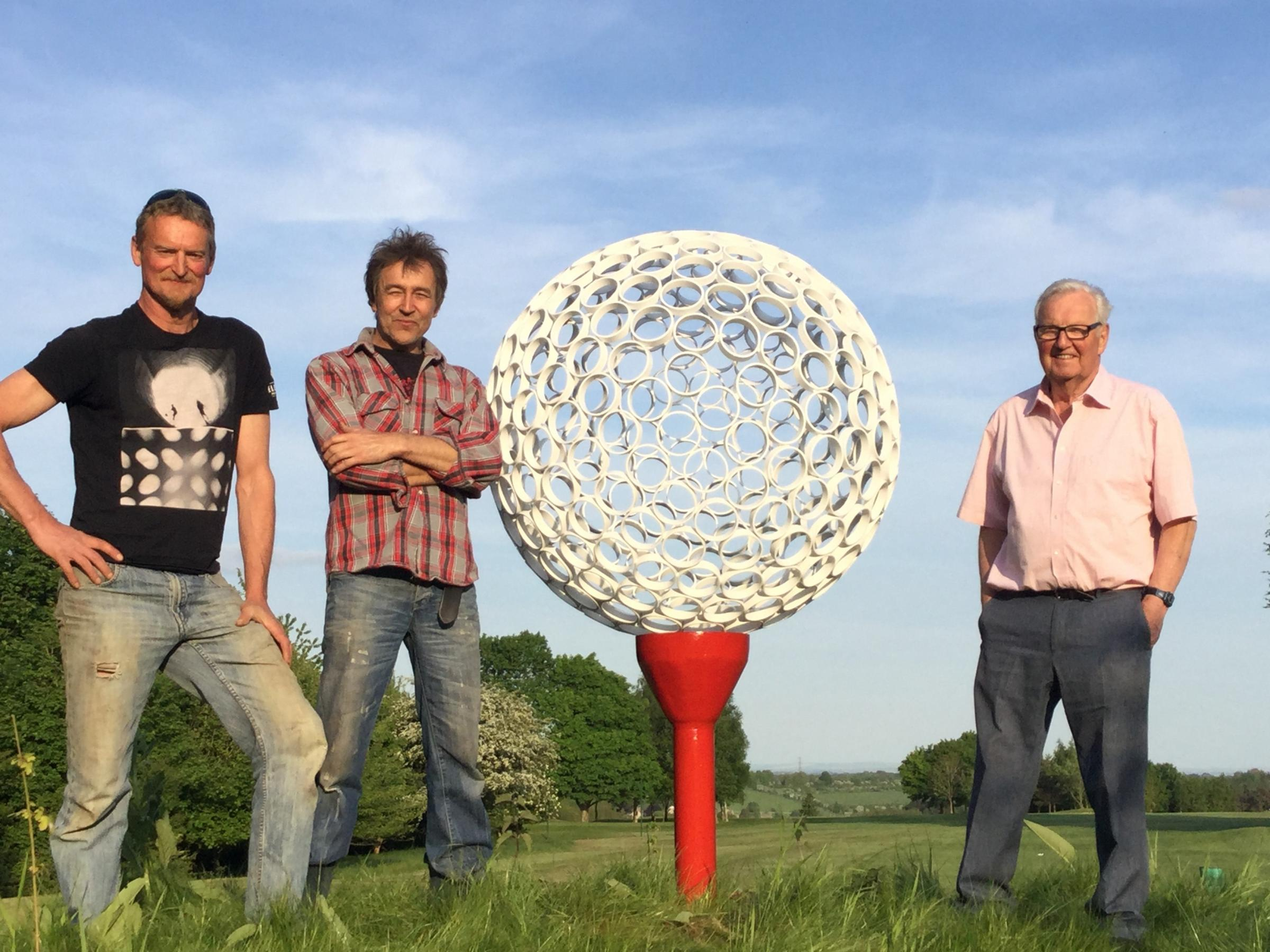 Pictured is David Hartland from the sculpture park along with Artist Jayson Baylis and organiser Alan Macdonald.