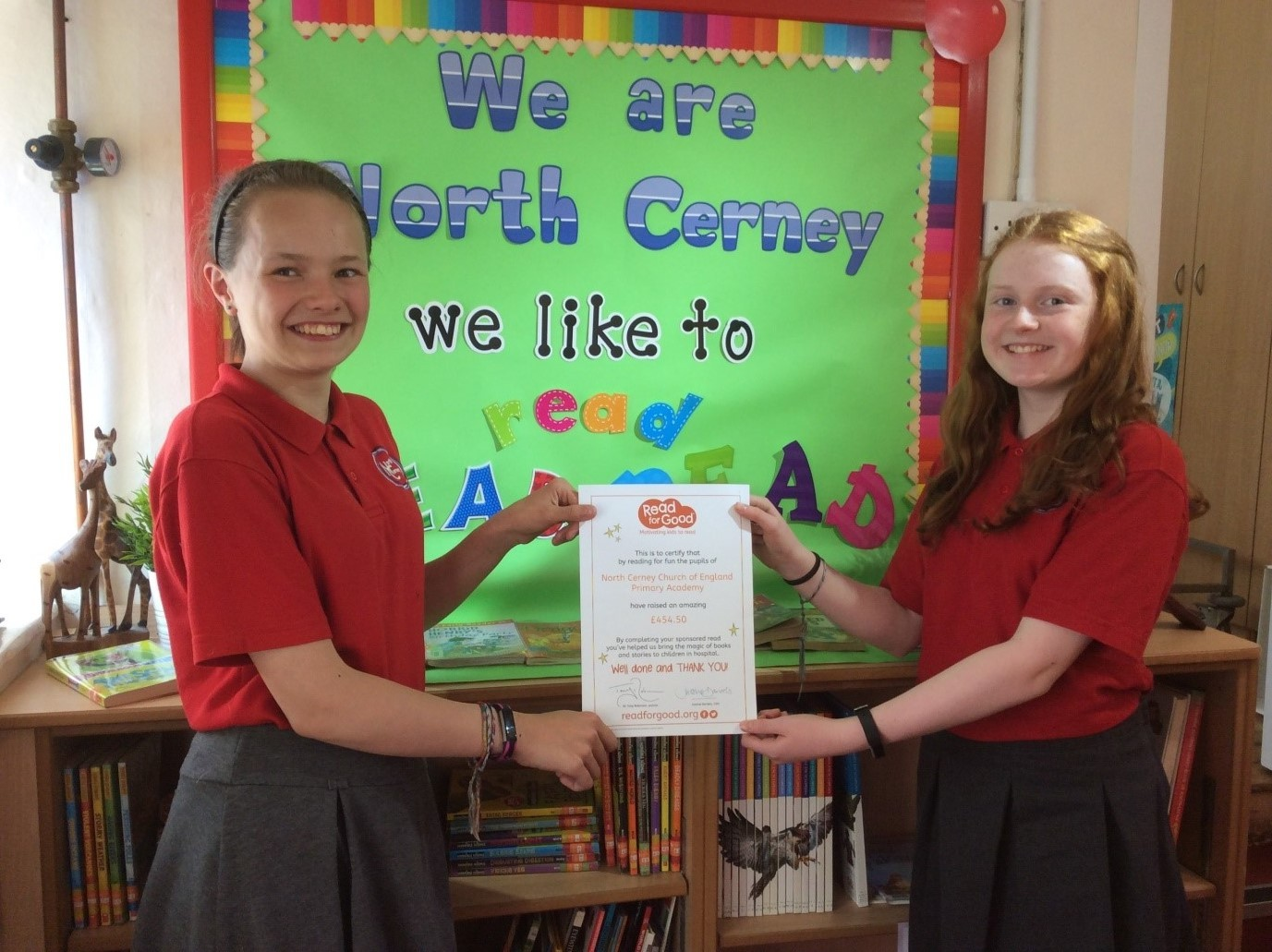 Year 6 pupils Kay Townsend and Amber Forde shared the idea to the school