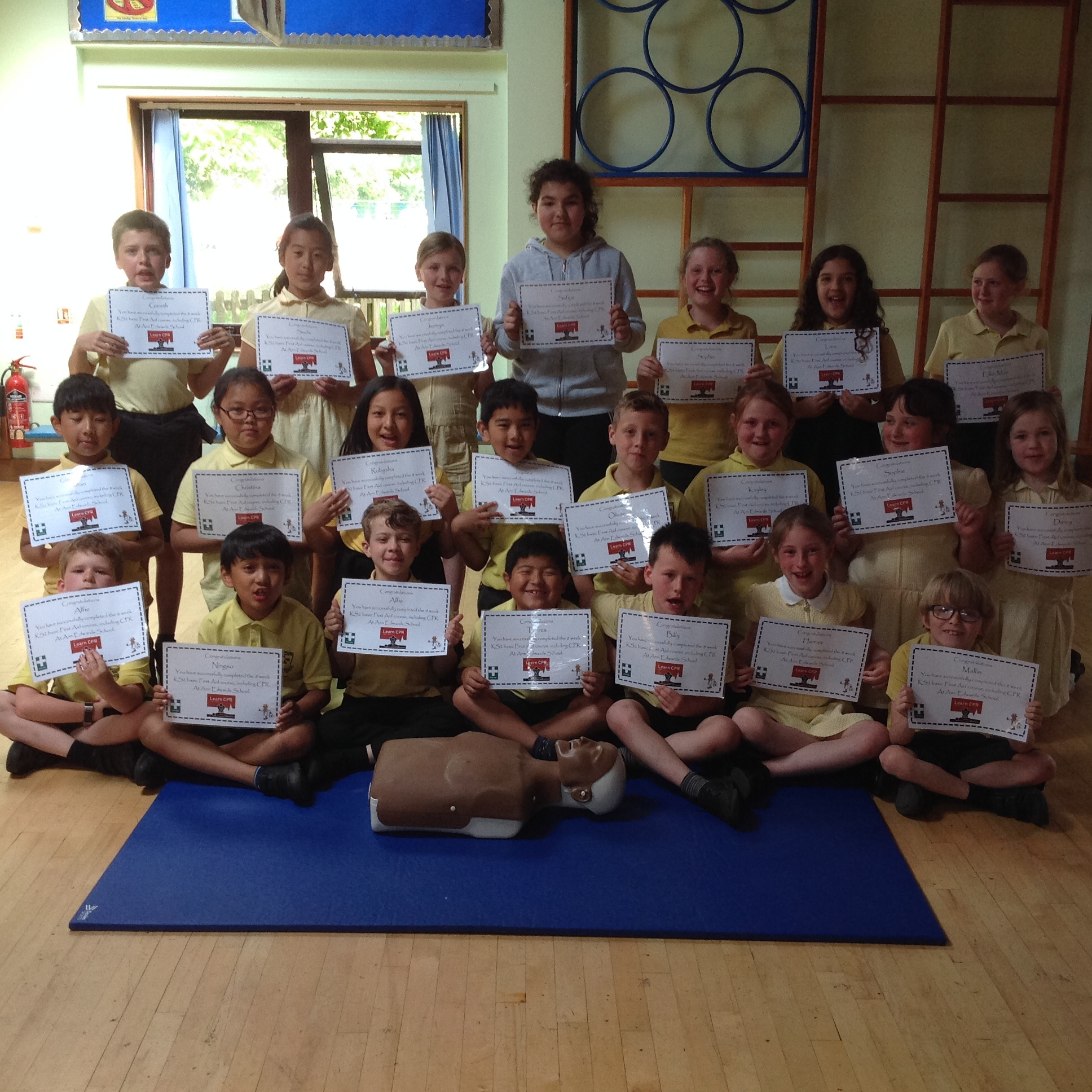 Ann Edwards School pupils with their certificates.