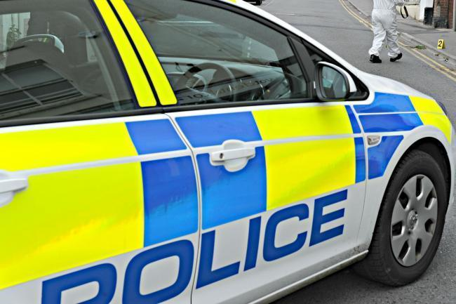 The A424 is closed following a crash