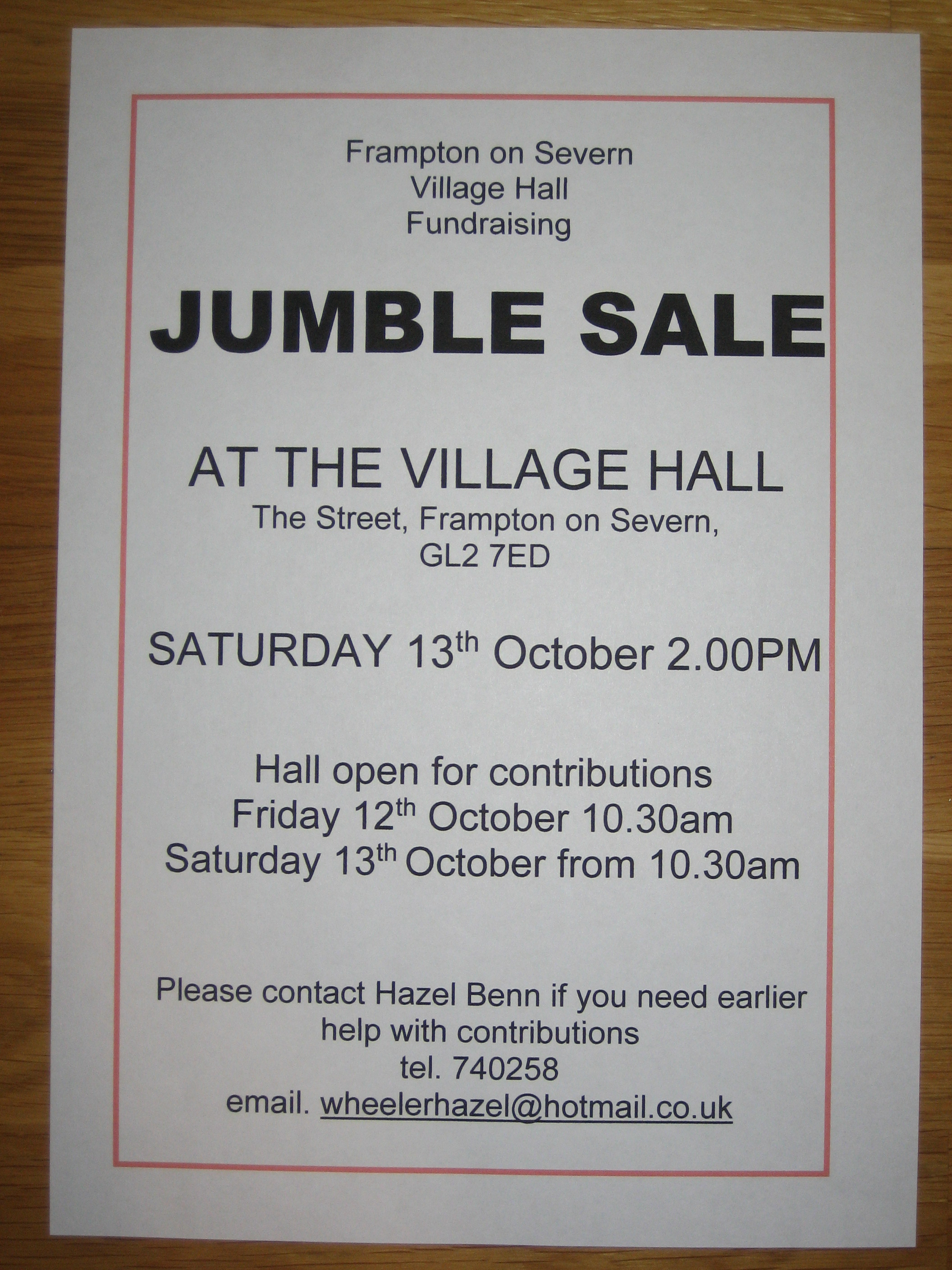 Jumble Sale Frampton on Severn 13th October 2018 2pm
