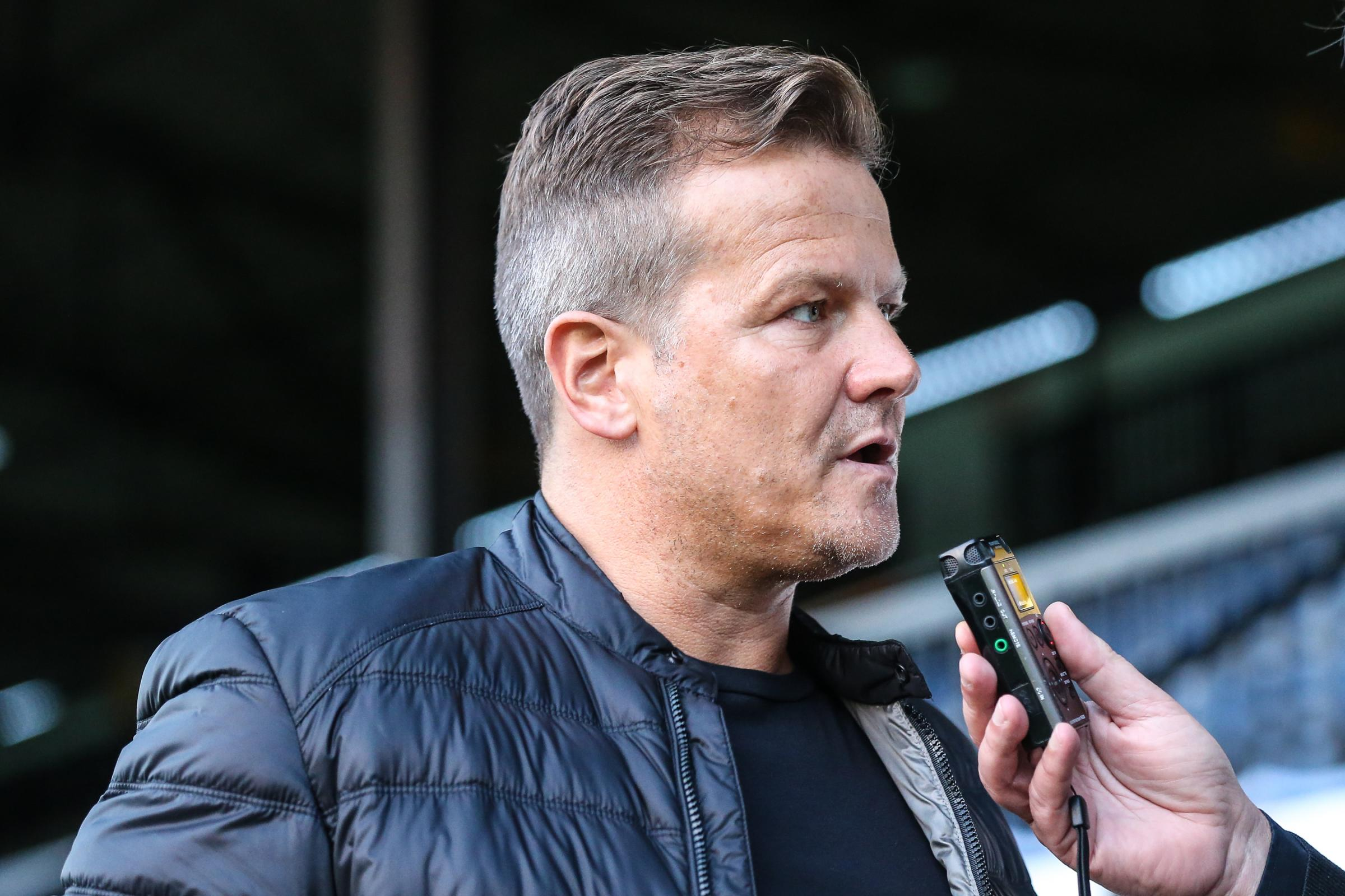 Forest Green Rovers manager, Mark Cooper being interviewed before the match during the EFL Sky Bet League 2 match between Cambridge United and Forest Green Rovers at the Cambs Glass Stadium, Cambridge, England on 2 October 2018.