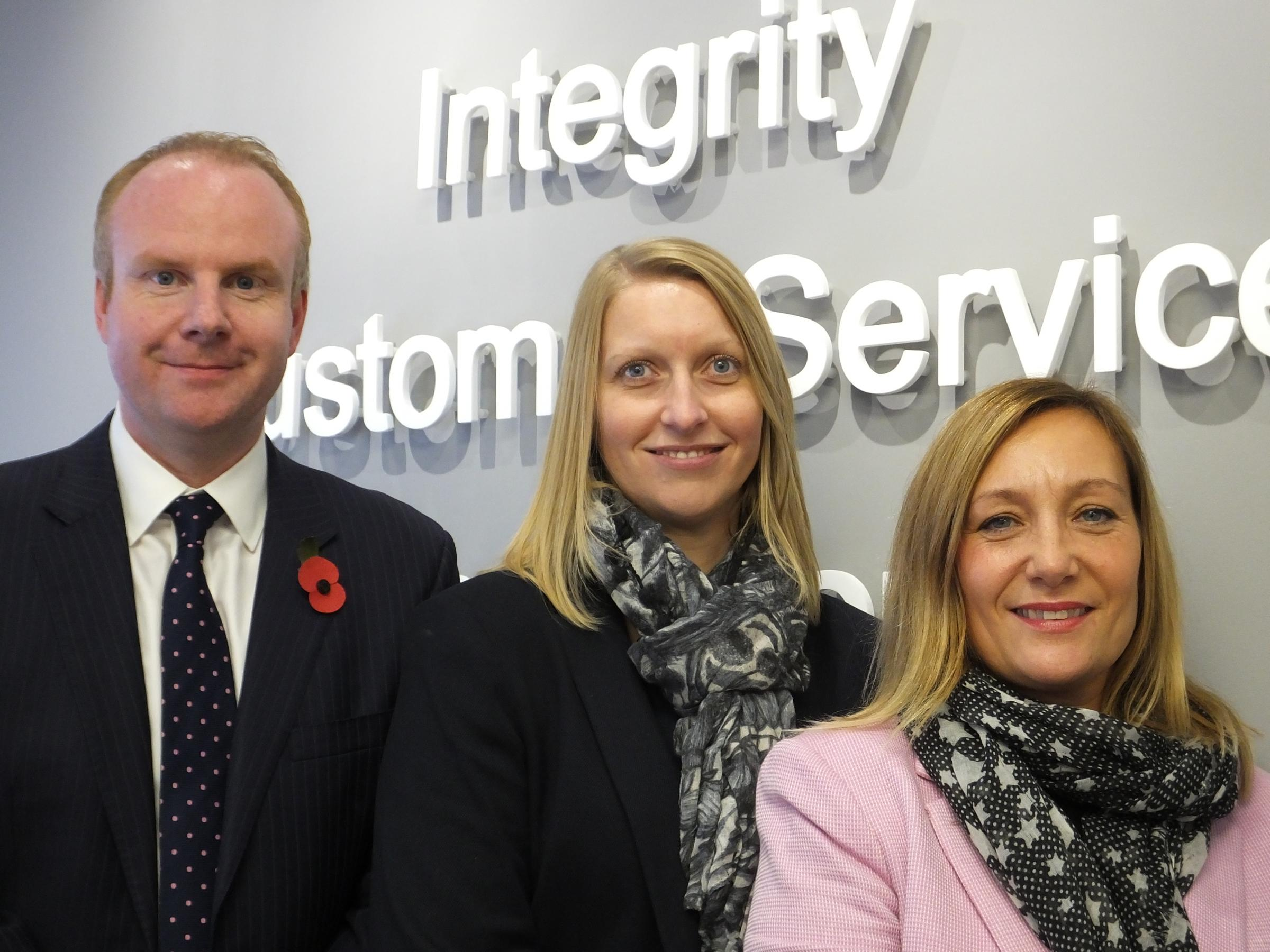 Left – Right: Gavin Wallace (Lettings Director)  Tammy Powell (Lettings Manager)  Stephanie Rosewell (Lettings Administrator)