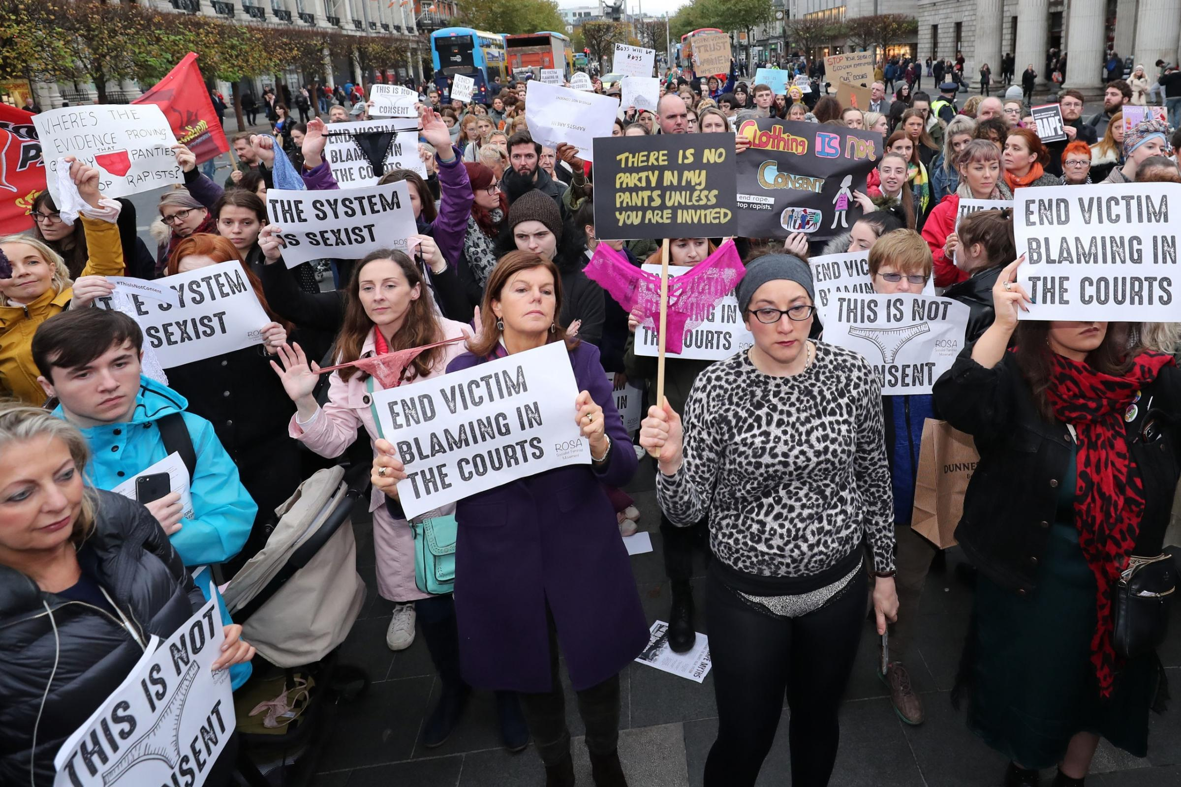 Hundreds join protest against rape trials in Ireland