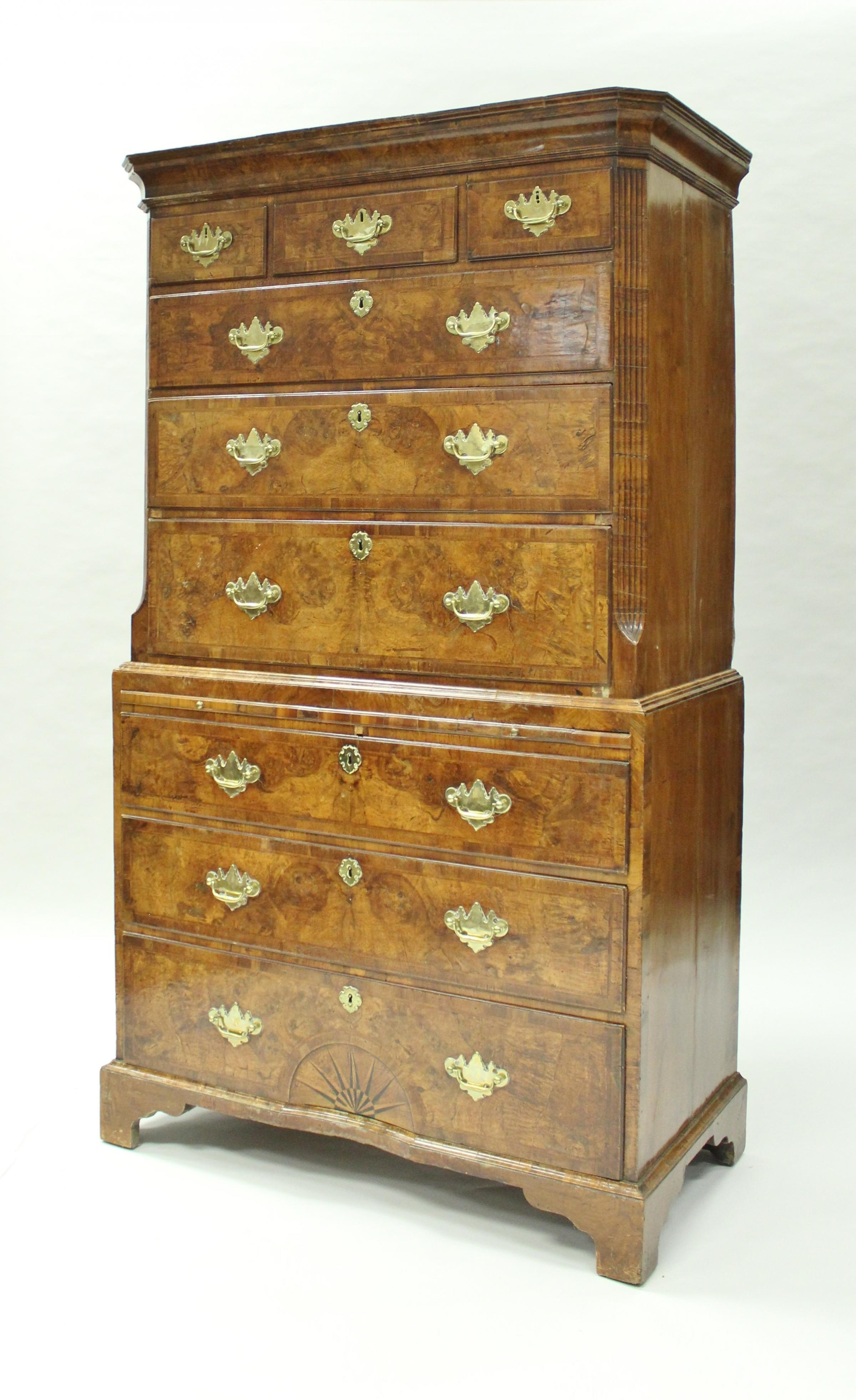 MA Auction An early 18th century walnut bachelor chest on chest