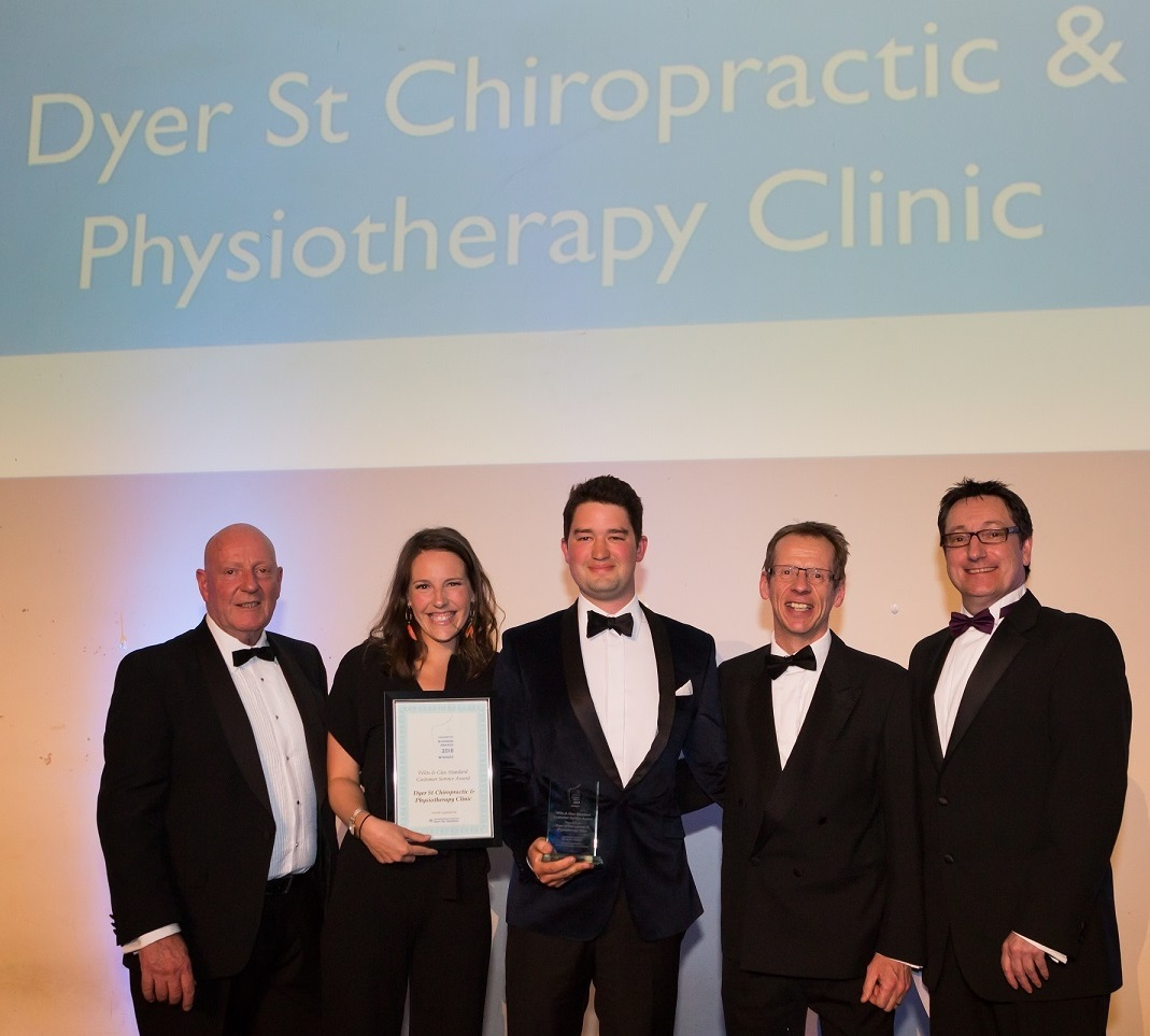 Last year's winners of the Customer Service Award, the Dyer St Chiropractic & Physiotherapy Centre. Right, Wilts and Glos Editor John Wilson and far right BBC radio Gloucestershire's Vernon Harwood, Kay Ransom Photography