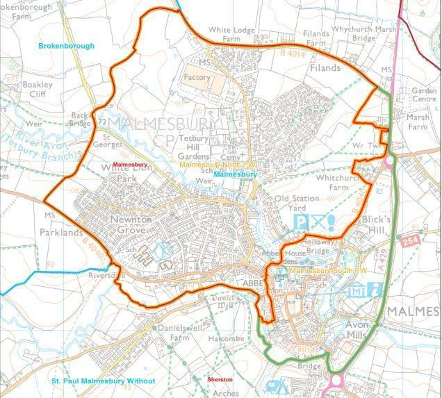 Within the orange-lined area is the proposed Malmesbury North Parish Ward and outside of it is Malmesbury South Parish Ward.