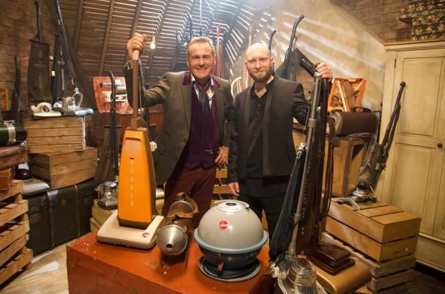 Vacuum cleaner collector Jack Copp and TV antiques expert Paul Martin. Jack is making a guest appearance on Curiosity hosted by Paul Martin