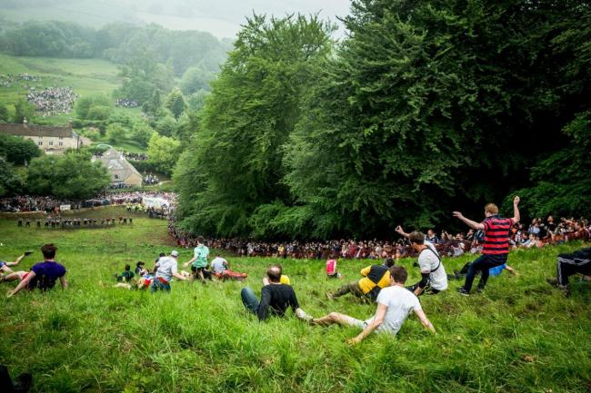 Bank holiday mayhem at the cheese rolling on Coopers Hill. Picture: Mark Saunders