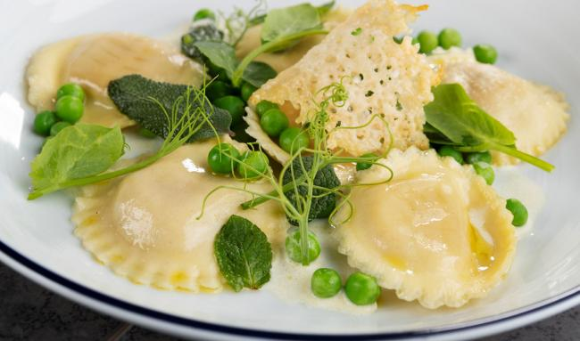 Leon Woolley's Pea, Mint & Ricotta Ravioli. Picture: Keith mindham