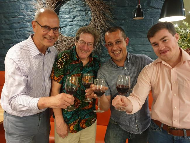 Simon Thomson of Talking Wines, Ethan Rodgers and MBB Sommellier Jonty Binns