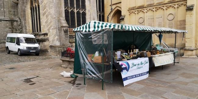 The market stall that appears to be blocking the war memorial in the Market Place
